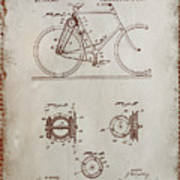 Bicycle Patent Drawing 4a Art Print