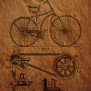 Bicycle Patent From 1890 Art Print
