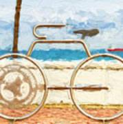 Seaside Bicycle Stand Art Print