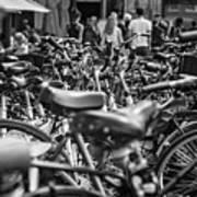 Bicycles Amsterdam Black And White Art Print