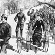 Bicyclist Meeting, 1884 Art Print