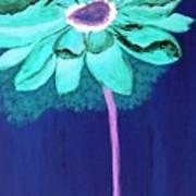 Big Aqua Flower Art Print