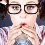 Big Business Kid Making Phone Call With Tin Cans Art Print
