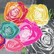 Big Colorful Roses 2- Art By Linda Woods Art Print