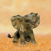 Beautiful African Baby Elephant Art Print