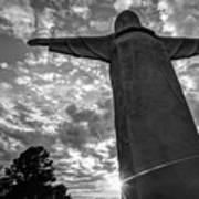Big Jesus - Christ Of The Ozarks In Black And White Art Print
