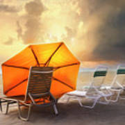 Big Orange Beach Umbrella Watercolor Painting Art Print