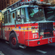 Big Red Engine 24 - Fdny - Firefighters Of New York Art Print