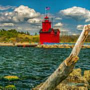 Big Red Lighthouse In Michigan Art Print