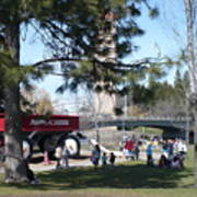 Big Red Wagon In Riverfront Park Art Print