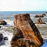 Big Rocks In Grey Water Painting Art Print