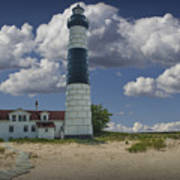 Big Sable Lighthouse Under Cloudy Blue Skies Art Print