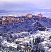 Big Snow In The Alhambra Granada  Art Print