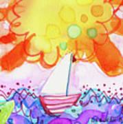 Big Sun And Sailboat Art Print