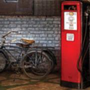 Bike - Two Bikes And A Gas Pump Art Print