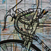 Bike 2 On Map Art Print by William Cauthern
