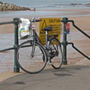 Bike Against Railings Art Print