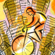 Bike And The City Art Print