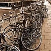 Bike Parking -- Amsterdam In November Sepia Art Print