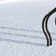 Bike Racks In Snow Art Print