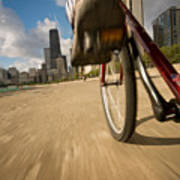 Biking Chicagos Lakefront Art Print
