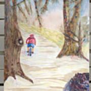 Biking In The Woods Art Print