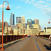 Biking On The Stone Arch Bridge Art Print