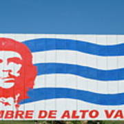 Billboard With The Iconic Che Guevara Portrait And National Cuban Flag Art Print