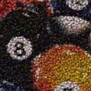 Billiard Ball Bottle Cap Mosaic Art Print