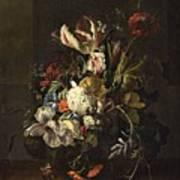 Bindweed And Chrysanthemums Art Print