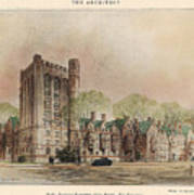 Bingham Dormitory. Yale University. New Haven Connecticut 1926 Art Print