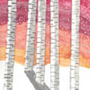 Birch In The Snow Art Print