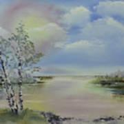 Birch Trees Landscape Art Print