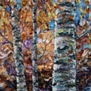 Birch Trees Oil Painting With Palette Knife  Art Print