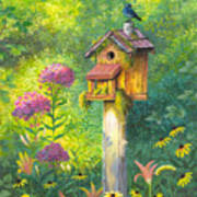 Bird House And Bluebird  Art Print