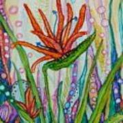 Bird Of Paradise In An Imaginary Garden Art Print