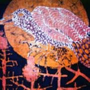 Bird On Thistle At Sundown Art Print