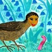 Bird People Blackbird And Worm Art Print