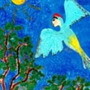 Bird People Green Woodpecker Art Print