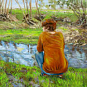 Bird Watching By The Creek Art Print