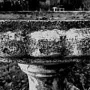 Birdbath In Black And White  Art Print