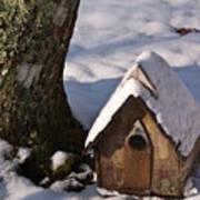 Birdhouse In Snow Art Print