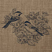 Birds And Burlap 1 Art Print