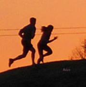 Birds And Fun At Butler Park Austin - Jogging - Sunset Run Art Print