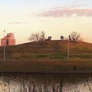 Birds And Fun At Butler Park Austin - Silhouettes 1 Panorama Art Print