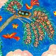 Birds And Nest In Flowering Tree Art Print