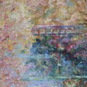 Birds Boaters And Bridges Of Barton Springs - Autumn Colors Pedestrian Bridge Art Print