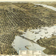 Birds Eye View Of Jacksonville Florida 1893 Art Print