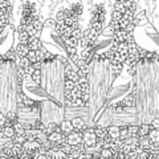 Birds In Flower Garden Coloring Page Art Print
