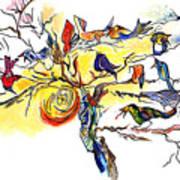 Birds On A Branch Art Print